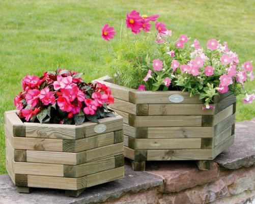 Pink flowers in wooden plant containers